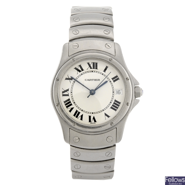 A stainless steel automatic Cartier Santos bracelet watch.