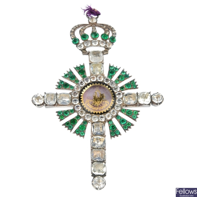 A late 19th century continental silver paste cross pendant.