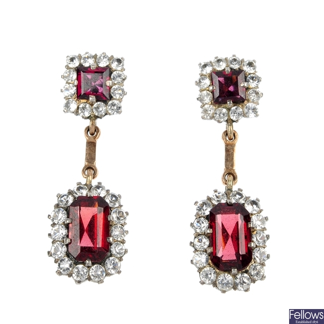 A pair of early 20th century gold and silver garnet and paste ear pendants.