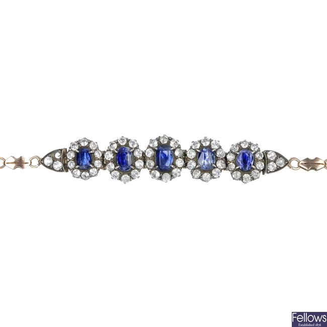 A selection of sapphire and paste jewellery.