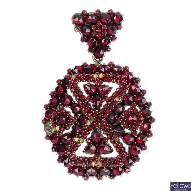A late 19th century bohemian garnet pendant.
