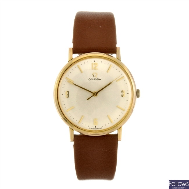 A gold plated manual wind gentleman's Omega wrist watch.