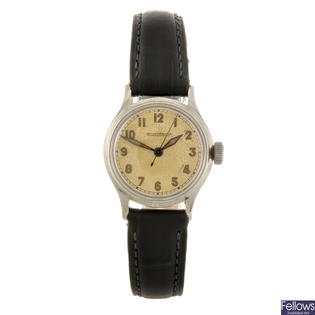 A stainless steel manual wind lady's Jaeger LeCoultre wrist watch.