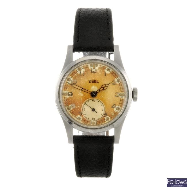 A stainless steel manual wind gentleman's military Ebel wrist watch.