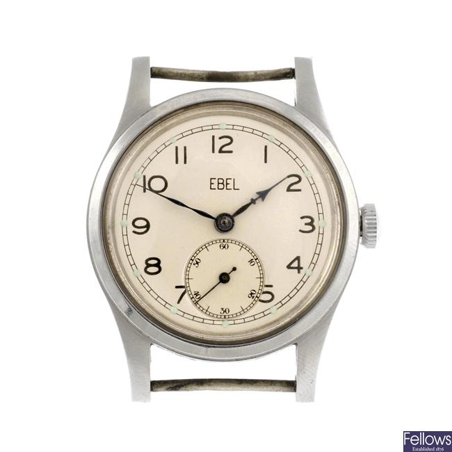 A stainless steel manual wind gentleman's military Ebel watch head.