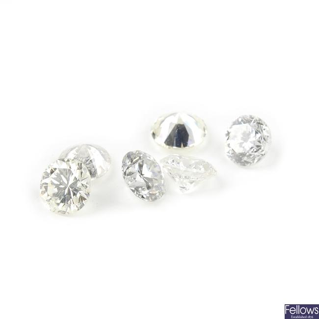 Six vari-cut diamonds.