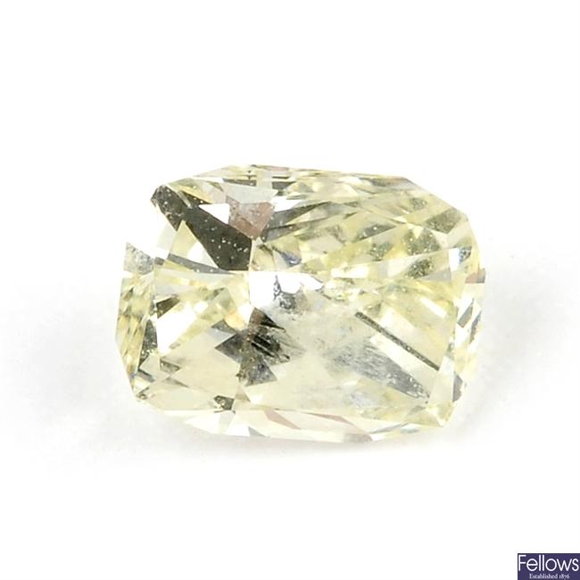 A rectangular-shape diamond, weighing 0.34ct.