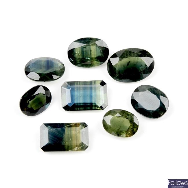 Eight green sapphires.