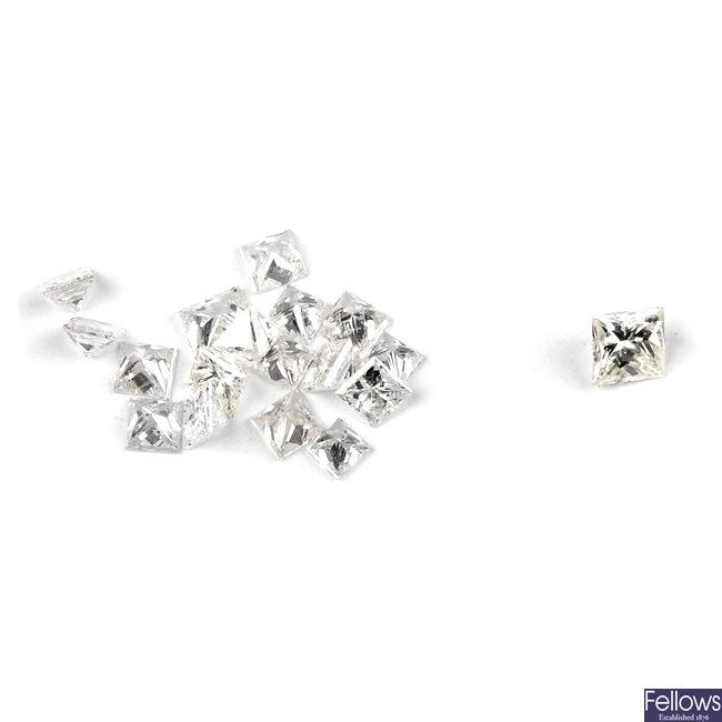 A selection of square-shape diamonds.
