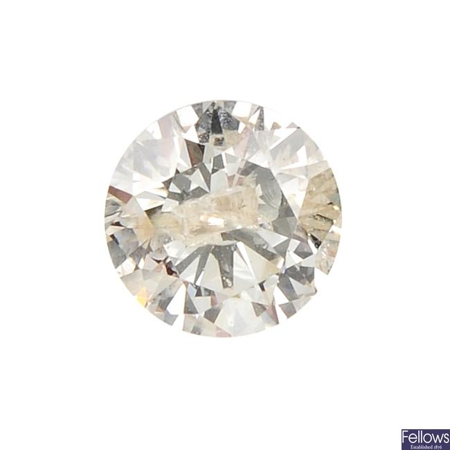 A brilliant-cut diamond, weighing 0.46ct.