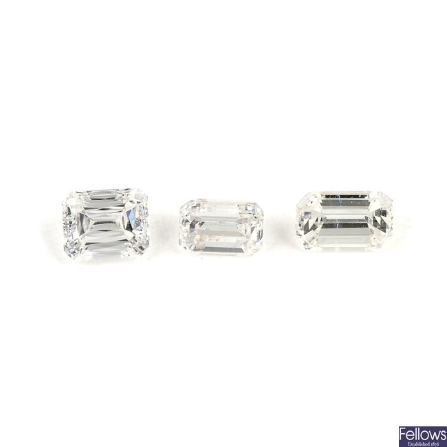 Three rectangular-shape diamonds.