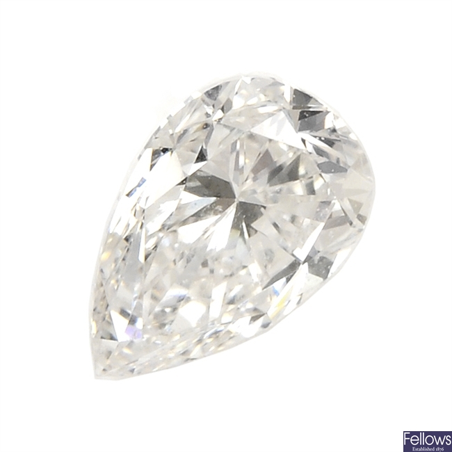 A pear-shape diamond, weighing 0.38ct.