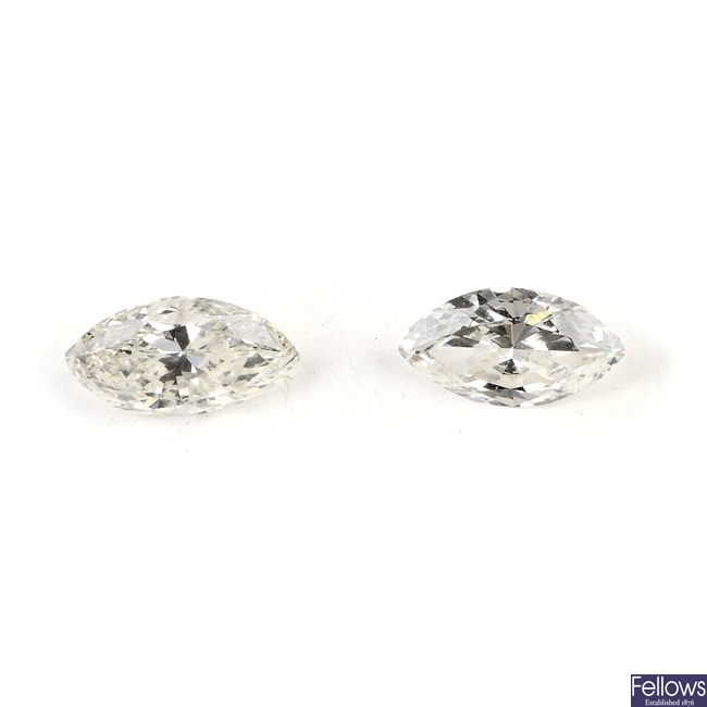 Two marquise-cut diamonds, weighing 0.32 and 0.21ct