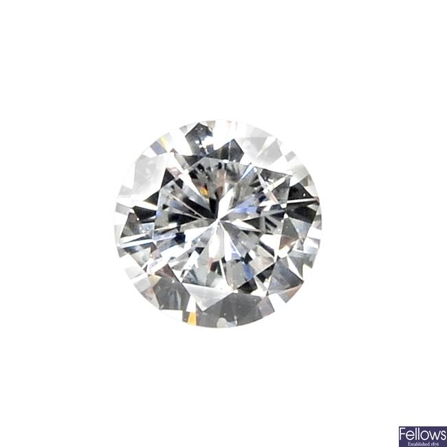 A brilliant-cut diamond, weighing 0.34ct.