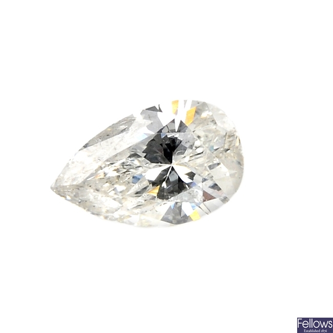 A pear-shape diamond, weighing 0.53ct.