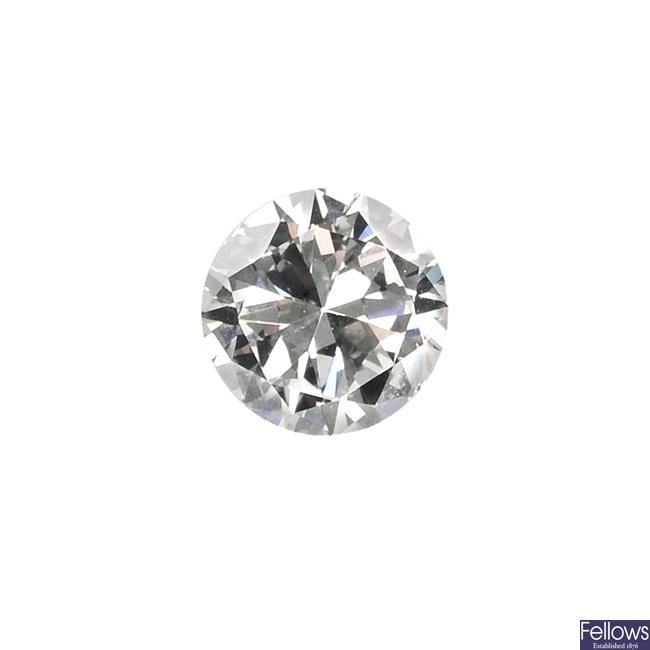 A circular-cut diamond, weighing 0.46ct.