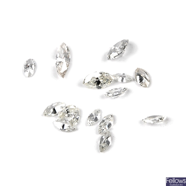 A selection of marquise-cut diamonds.