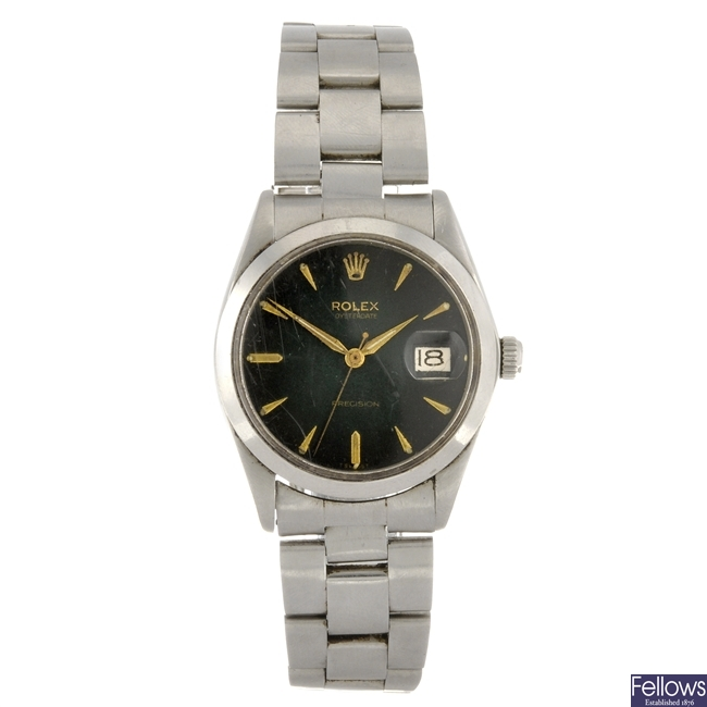 A stainless steel manual wind gentleman's Rolex Oyster Date Precision bracelet watch.