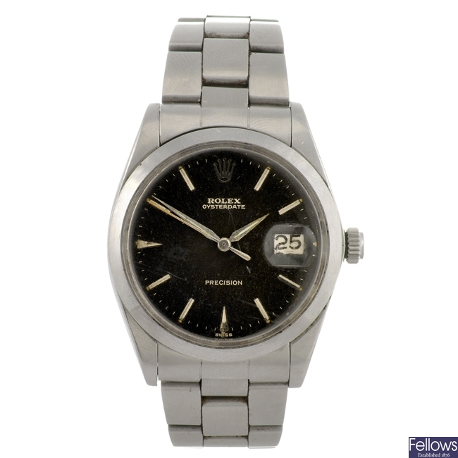 A stainless steel manual wind gentleman's Rolex Oysterdate Precision bracelet watch.