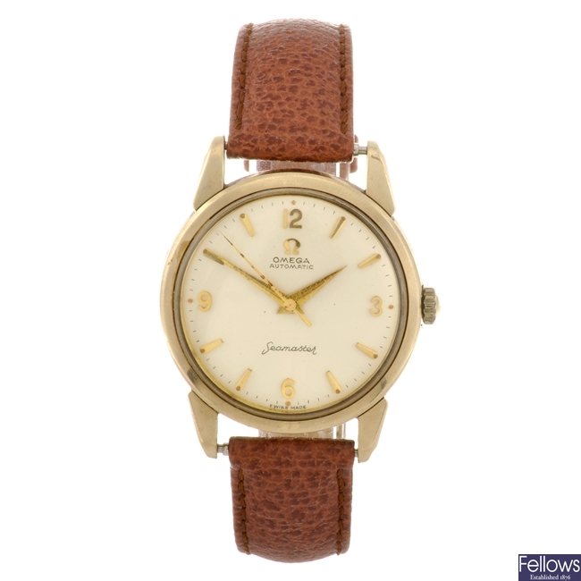 A 9ct gold automatic gentleman's Omega Seamaster wrist watch.