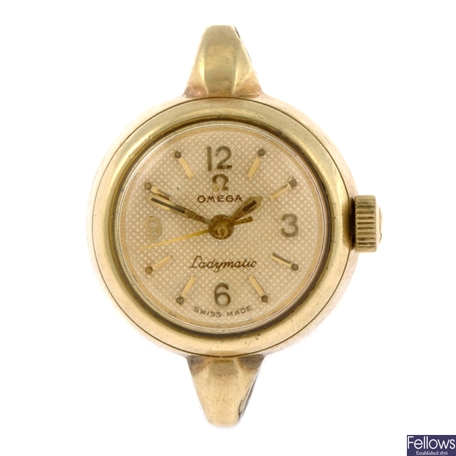 A gold plated automatic lady's Omega Ladymatic watch head.