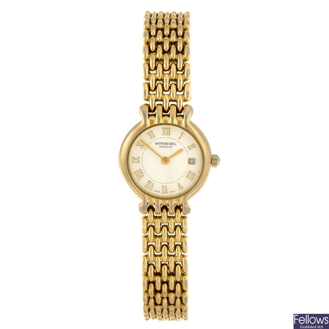 A gold plated quartz lady's Raymond Weil Chorus bracelet watch.