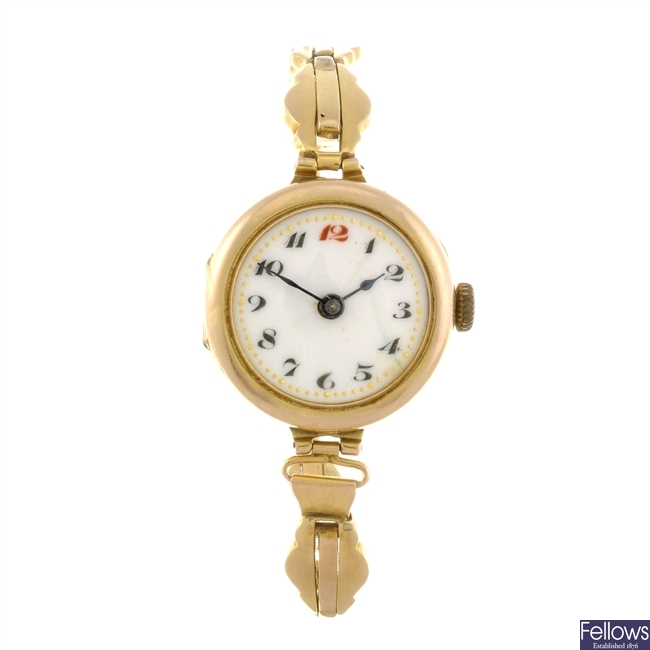 A 9ct gold manual wind lady's bracelet watch.
