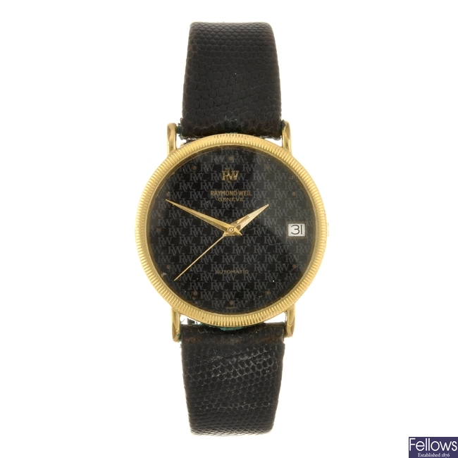 A gold plated automatic gentleman's Raymond Weil wrist watch.