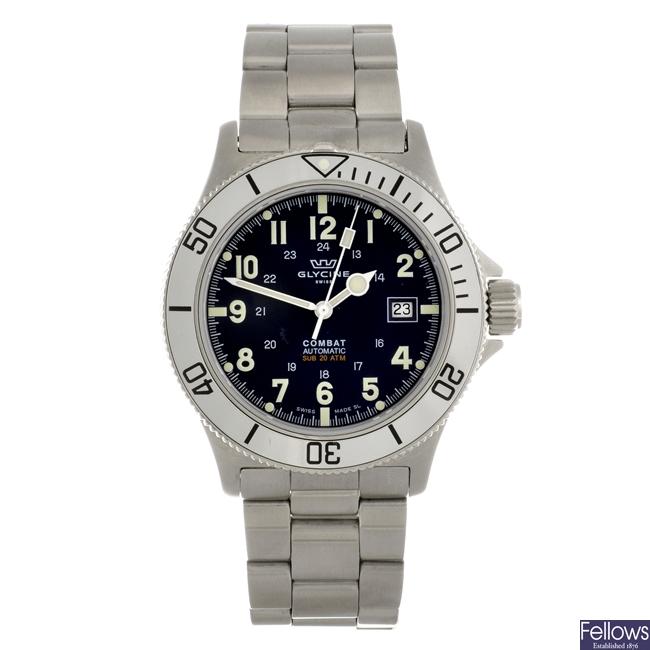 A stainless steel automatic gentleman's Glycine Combat bracelet watch.