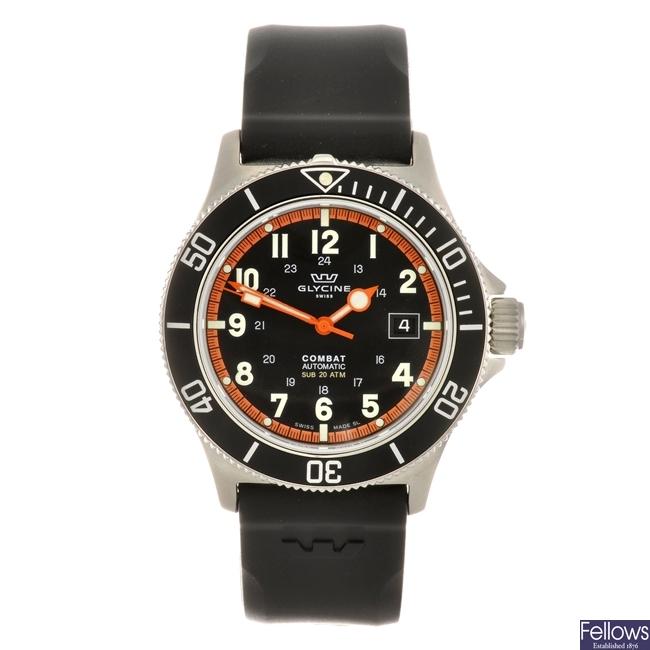 A stainless steel automatic gentleman's Glycine Combat wrist watch.