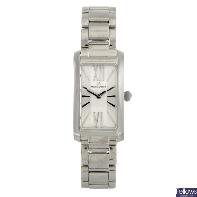 A stainless steel quartz lady's Maurice Lacroix Fiaba bracelet watch.