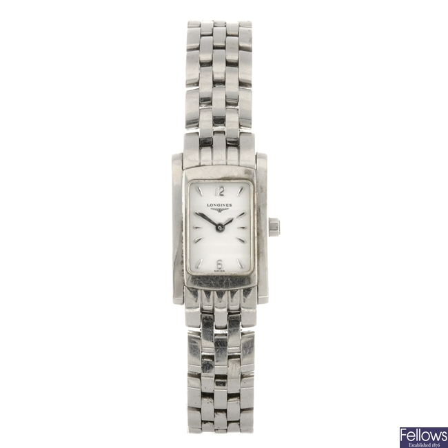 A stainless steel quartz lady's Longines Dolce Vita bracelet watch.