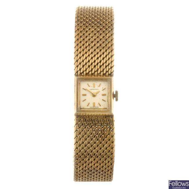 A 9ct gold manual wind lady's Longines bracelet watch.