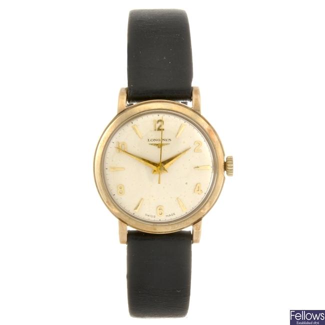 A 9ct gold manual wind gentleman's Longines wrist watch.