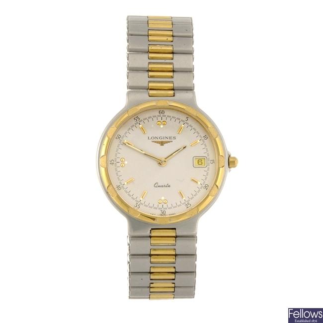 A bi-colour quartz gentleman's Longines Conquest bracelet watch.