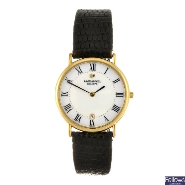 A gold plated quartz gentleman's Raymond Weil wrist watch.