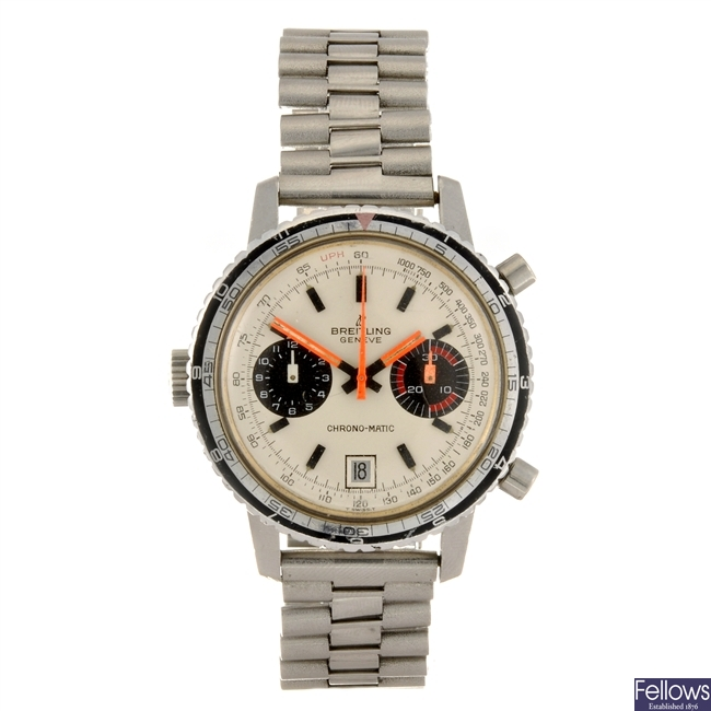 A stainless steel automatic chronograph gentleman's Breitling Chrono-matic bracelet watch.