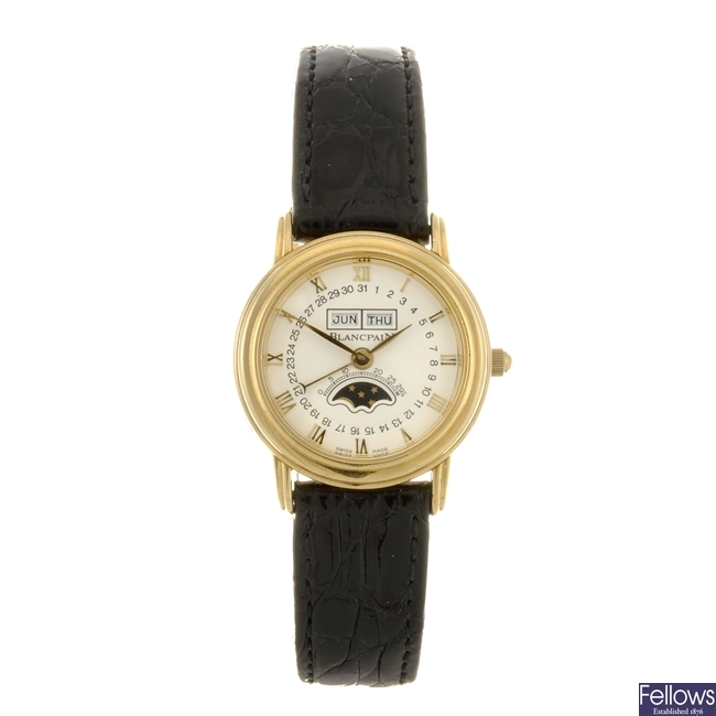 An 18k gold automatic lady's Blancpain wrist watch.