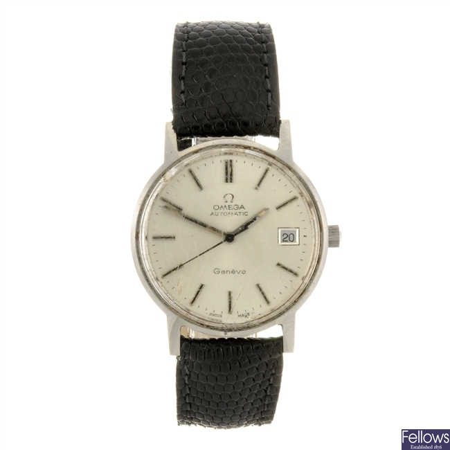 A stainless steel automatic gentleman's Omega Geneve bracelet watch.