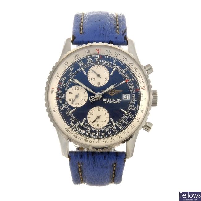 A stainless steel automatic gentleman's Breitling Navitimer wrist watch.