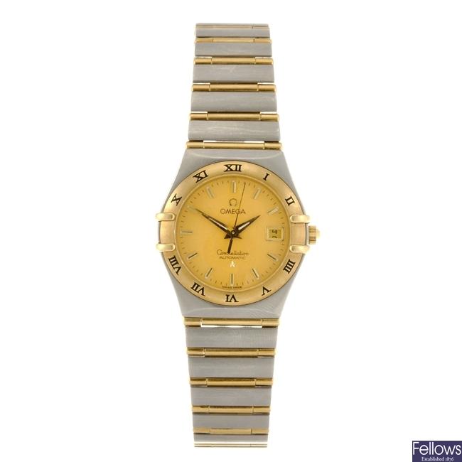 A bi-metal automatic lady's Omega Constellation bracelet watch.