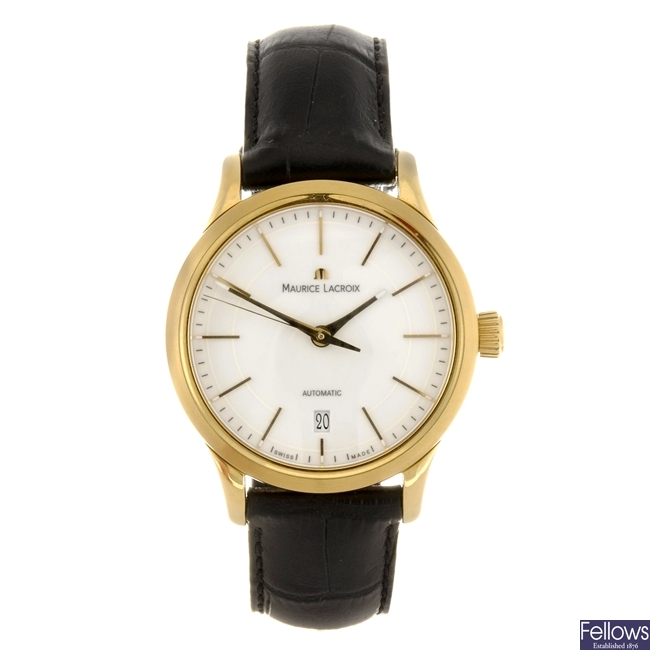 A gold plated automatic gentleman's Maurice Lacroix wrist watch with another Maurice Lacroix watch.