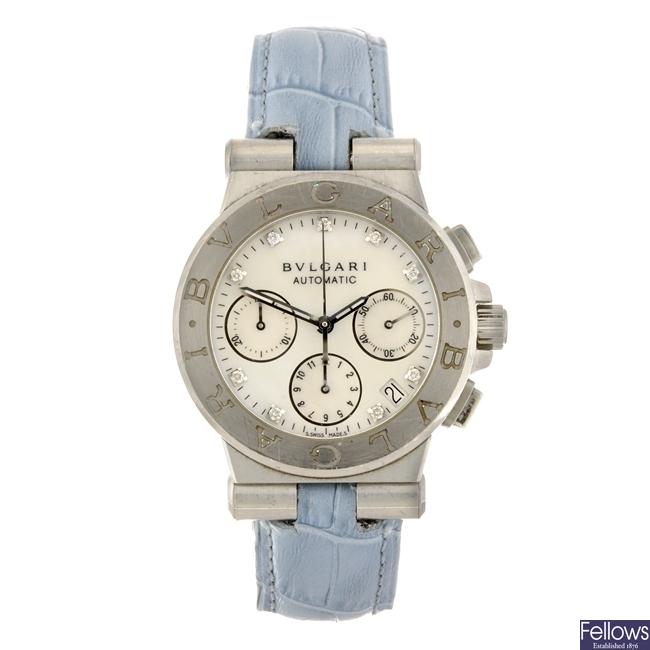 A stainless steel automatic chronograph Bulgari Diagono wrist watch.