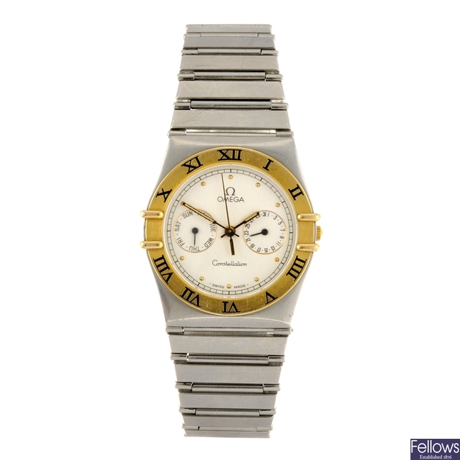 A bi-metal quartz gentleman's Omega Constellation bracelet watch.