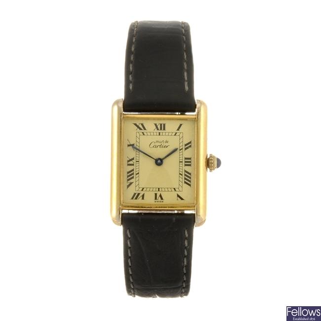 A gold plated silver quartz Must de Cartier Vermeil Tank wrist watch.