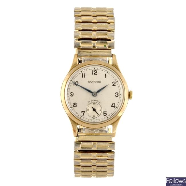 A 9ct gold manual wind gentleman's Garrard bracelet watch.