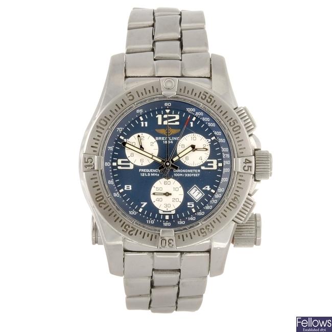 A stainless steel quartz chronograph gentleman's Breitling Professional Emergency bracelet watch.