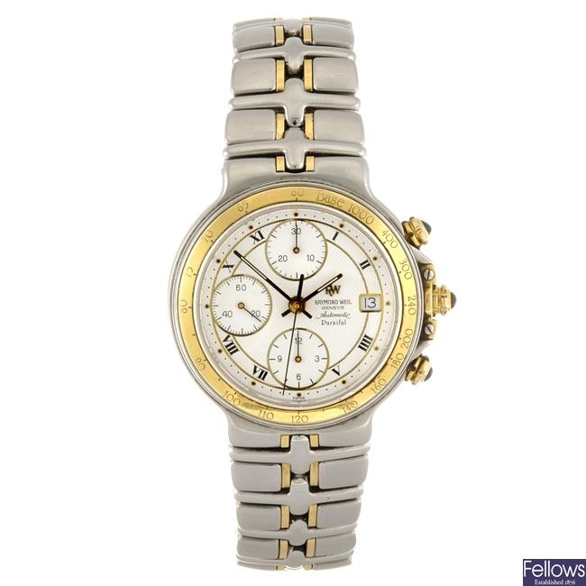 A bi-colour automatic Raymond Weil Parsifal bracelet watch.