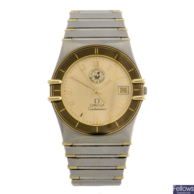 (41732) A bi-metal quartz gentleman's Omega Constellation bracelet watch.