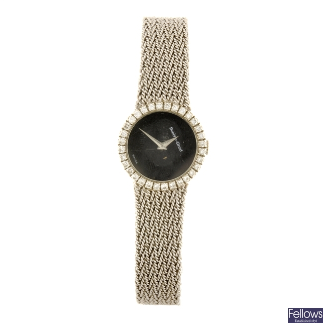 A 9ct white gold manual wind lady's Bueche-Girod bracelet watch.
